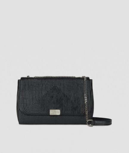 Trussardi Cross-body Frida large nera in similpelle laminata Tersicore