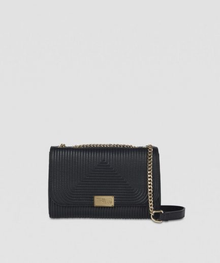 Trussardi Cross-body Frida medium nera in similpelle trapuntata Tersicore