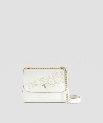 Trussardi Borsa a tracolla medium bianca in similpelle con borchie Tersicore