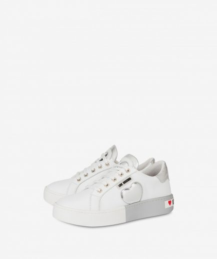 Love Moschino Sneaker in Vitello con Suola Bicolor Tersicore
