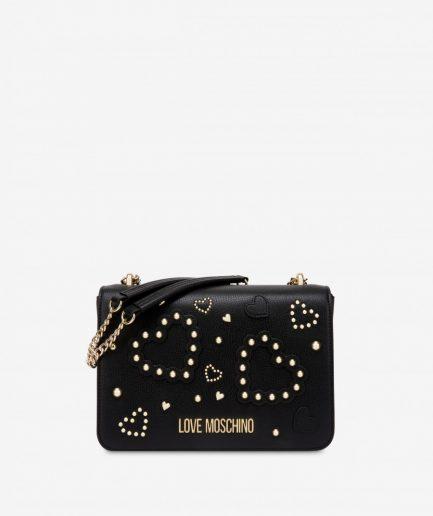 Love Moschino Borsa a spalla small nera con cuori e borchie Tersicore