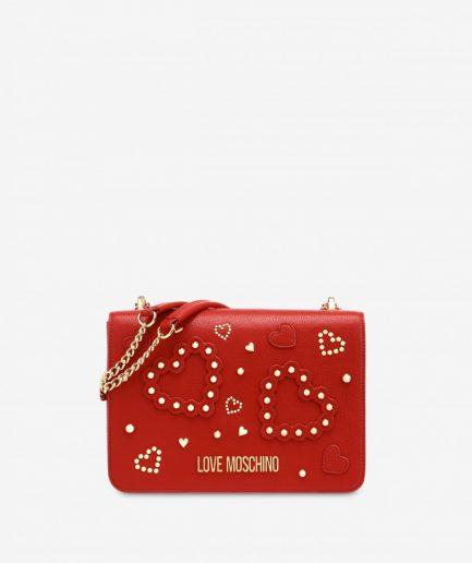 Love Moschino Borsa a spalla small rossa con cuori e borchie Tersicore