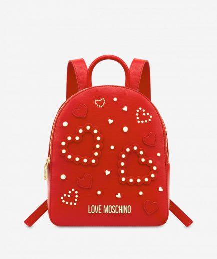 Love Moschino Zaino Hearts of studs Rosso Tersicore