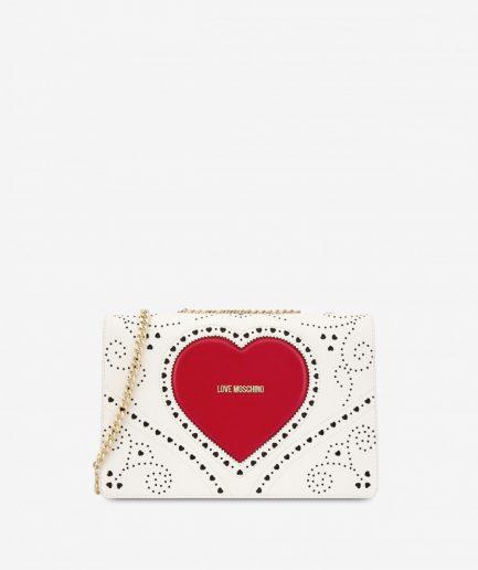 Love Moschino Borsa a spalla heart embroidery bianca Tersicore