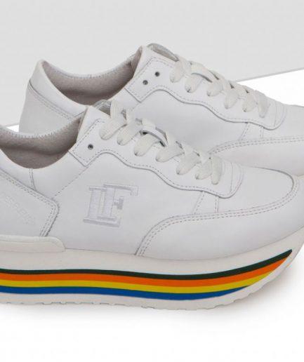 La Fille Des Fleurs Sacramento Pelle Bianco Sneakers Tersicore