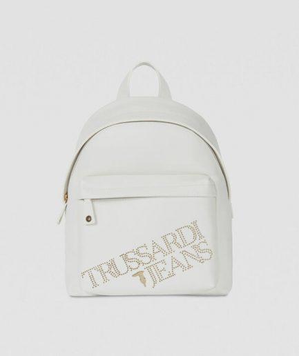 Trussardi Zaino in similpelle light bianco con borchie Tersicore
