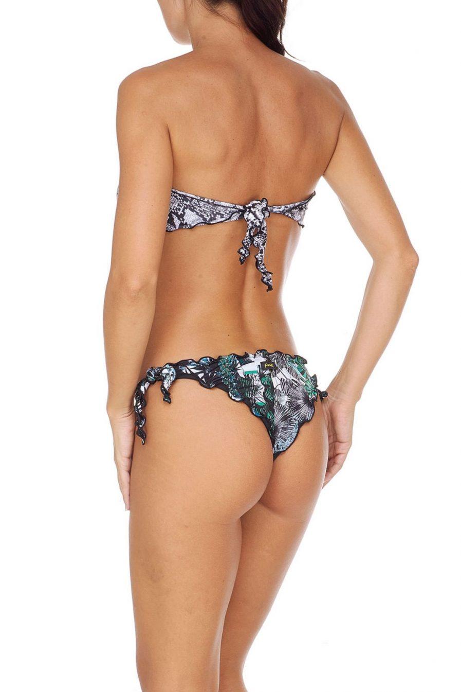 F**K costume donna Bikini fascia e slip nodi brasiliano regolabile Frou Frou Garden