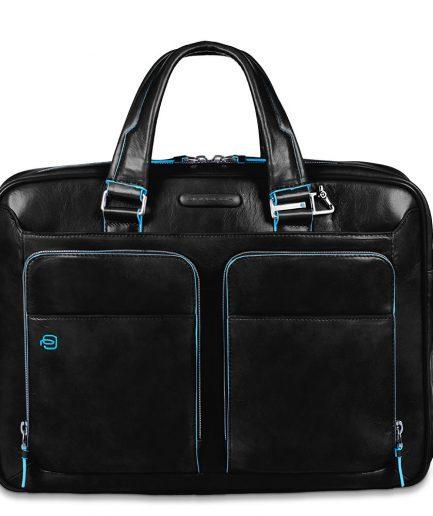 Piquadro borsa sottile porta computer blue square nera Tersicore