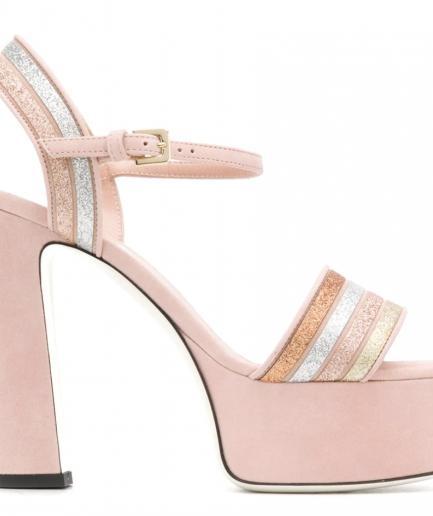 Pollini sandalo rosa con fasce a righe Tersicore