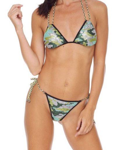 F**K bikini triangolo e slip laccetto brasiliano regolabile Tokyo 2020 camouflage Tersicore
