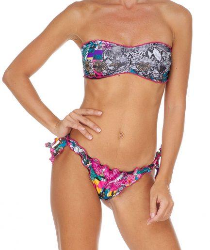 F**K costume donna bikini fascia e slip nodi brasiliano regolabile Frou Frou Garden fucsia Tersicore