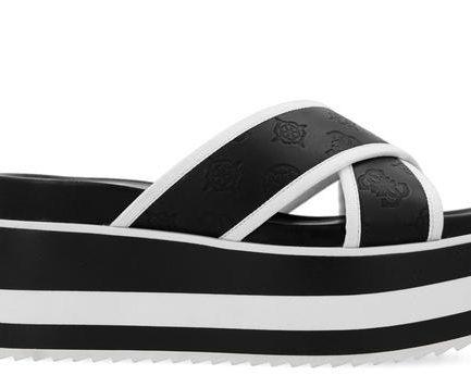 Guess sandalo Remina bianco e nero Tersicore