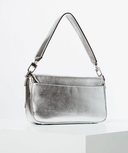 Guess borsa a spalla Brightside logo silver Tersicore