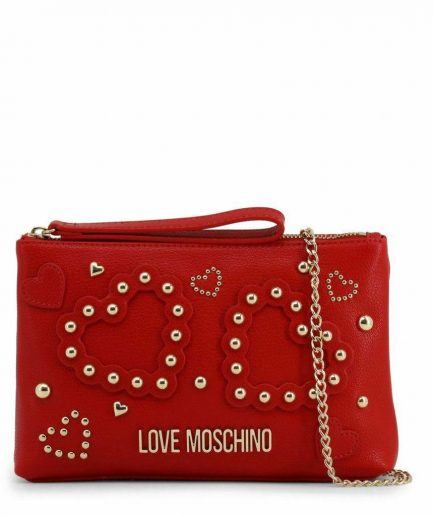 Love Moschino clutch hearts of studs rossa Tersicore