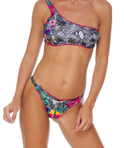 F**K bikini fascia monospalla e slip laccetto brasiliano fisso Garden Tersicore