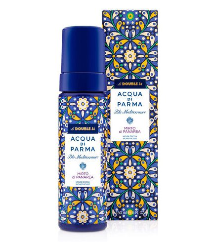 Acqua di Parma mousse doccia La DoubleJ capsule collection mirto di Panarea Tersicore