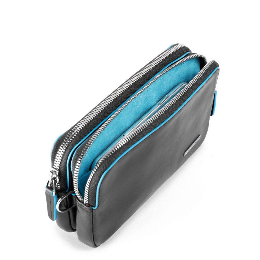 Piquadro Pochette a due scomparti con porta Blue Square col. nero