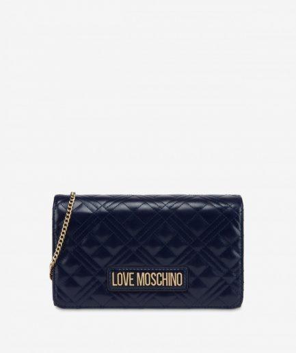 Love Moschino Evening Bag trapuntata con logo col. blue navy