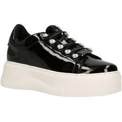 Cult Sneakers in pelle verniciata nera con lacci e brillantini