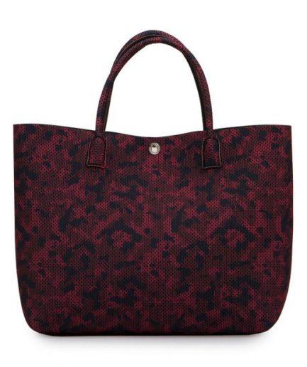 La Fille des Fleurs Shopping bag Lavinia Tekno Fabric Mimetico/Rosso