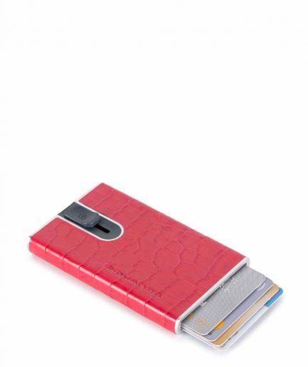 Piquadro Porta carte di credito con sliding system rosa papavero Tersicore Crotone