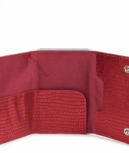 Piquadro Compact wallet per banconote e carte di credito rosso lizard metal Tersicore Crotone