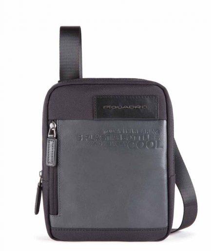 Piquadro borsello porta iPad mini in tessuto riciclato Ade nero Tersicore Crotone