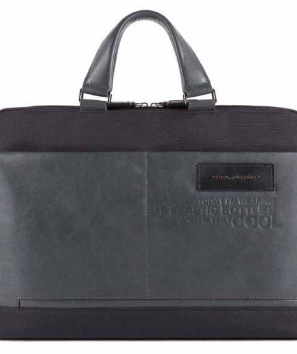 Piquadro Cartella porta computer e porta iPad in tessuto Ade nera Tersicore Crotone