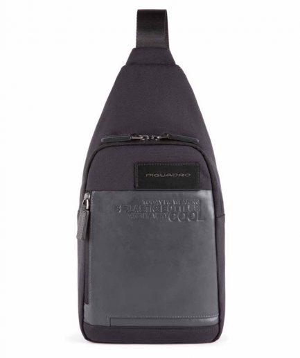 Piquadro monospalla porta iPad in tessuto riciclato Ade nero Tersicore Crotone