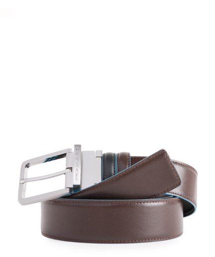 Cintura uomo reversibile con fibbia ad ardiglione nero/mogano Blue Square Tersicore Crotone