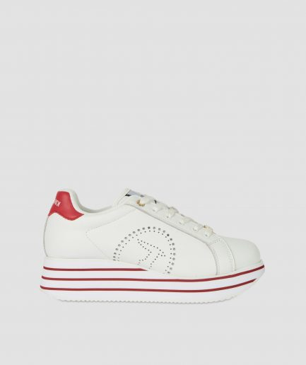 Trussardi sneaker Erika in pelle con platform bianco/bouganville Tersicore Crotone