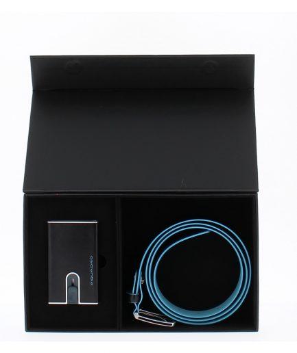Piquadro cofanetto regalo con cintura uomo e porta carte di credito con sliding system Tersicore Crotone