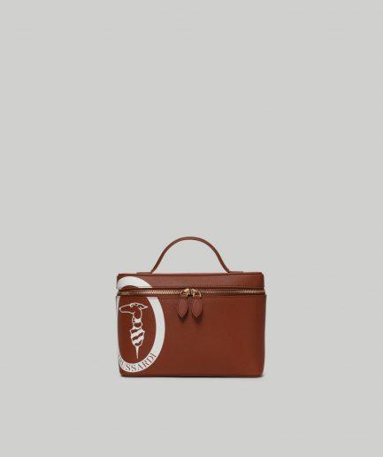 Trussardi travel beauty case Logo Pop in similpelle cuoio Tersicore Crotone