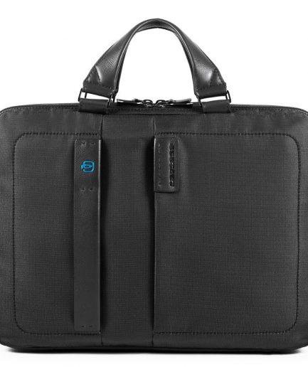 Piquadro Cartella a due manici porta computer e porta iPad® con porta bottiglia o porta ombrello P16 nera Tersicore Crotone