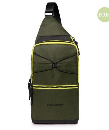 Piquadro monospalla porta iPad® in tessuto riciclato Otello verde Tersicore Crotone