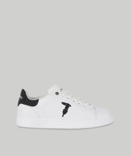 Trussardi Sneaker in pelle con logo glitter
