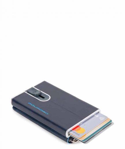 Piquadro Compact wallet per carte di credito con sliding sy Blue Square blu Tersicore Crotone