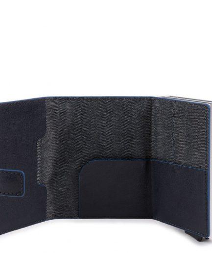Piquadro Compact wallet doppio per carte di credito Collezione B2S blu Tersicore Crotone