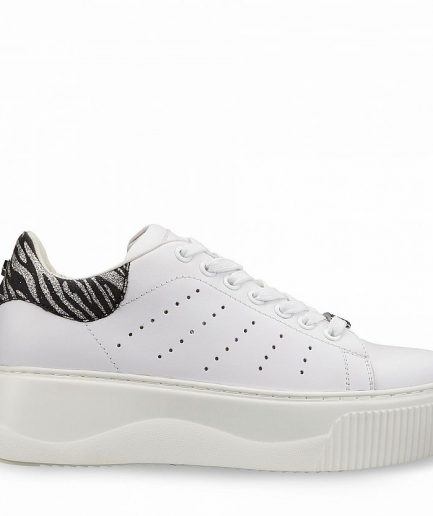 Cult Sneaker Donna Perry 3162 Low W Leather/Glitter/White/Zebra