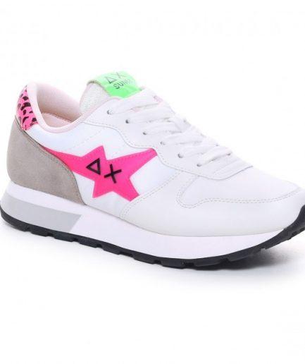 Sun68 Sneakers Donna Ally Star Trasparent Logo Bianco/Verde Fluo Z31209