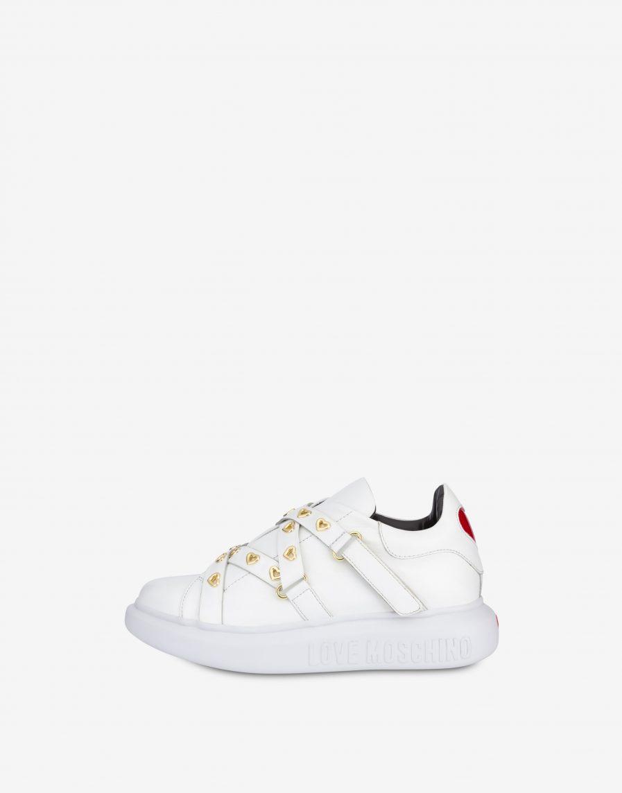 Love Moschino Sneakers Slip on in vitello Heart Eyelets