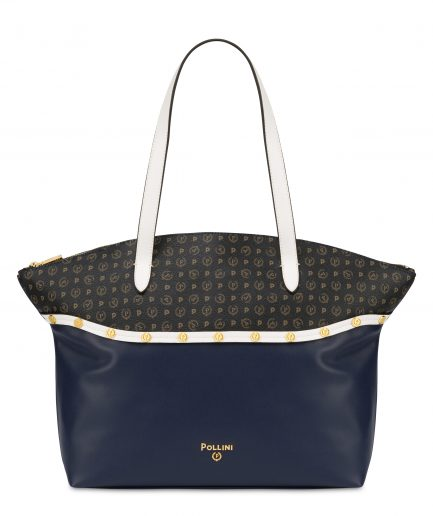 Pollini Shopping Borsa shopping con borchie Margarita Blu/Bianco/Nero