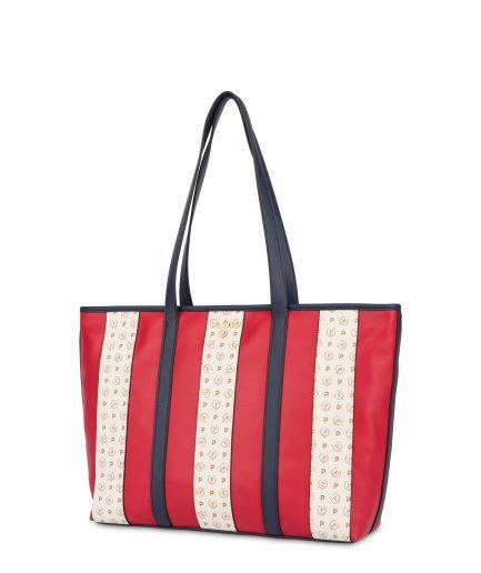 Pollini Shopping bag Stripe On Me Rosso/Avorio/Blu