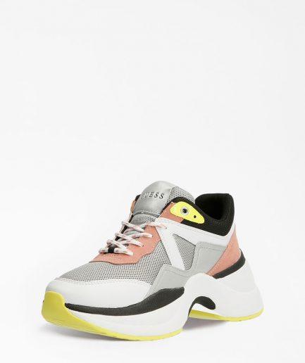 Guess Sneakers Donna Runner Joehle Inserti Traforati Bianco Multi