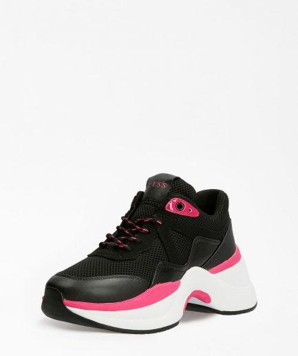 Guess Sneakers Donna Runner Joehle Inserti Traforati Nero Multi